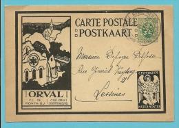 """Geillustreerde Kaart Met ENGEL """" ORVAL / LA COUR DES AUMONES / ZZICHT VAN UIT SCHERPENHEUVEL """" Met Stempel RENAIX - Illustrat. Cards"""