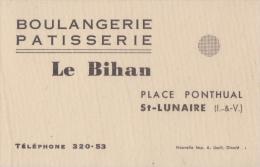 ST LUNAIRE 35 ( BOULANGERIE PATISSERIE LE BIHAN ) CARTE PUBLICITAIRE ANCIENNE - Cartes De Visite