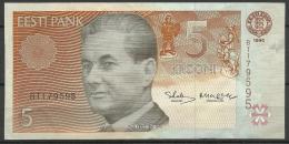 Estland Estonia Estonie 5 Krooni 1994 Banknote Bank Note Schach Chess PAUL KERES - Estonia