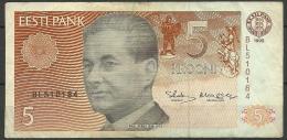 Estland Estonia Estonie 5 Krooni 1992 Banknote Bank Note Schach Chess PAUL KERES - Estonia