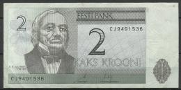 Estland Estonia Estonie 2 Krooni 2007 Banknote Karl Ernst Von Baer Universität Dorpat Tartu - Estonia