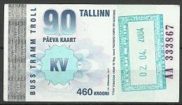 Estland Estonia Estonie 2004 Tallinn Reval City Transport Ticket Stadtverkehr Monatskarte - Abonnements Hebdomadaires & Mensuels