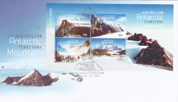AAT 2013 Antarctic Mountains Mini Sheet  FDC - Australian Antarctic Territory (AAT)