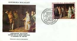 1969  Tableau: Ambasseur Malgache Auprès De La Reine Adelaide Londres 1837  FDC Poste Aérienne - Madagaskar (1960-...)