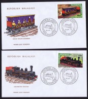 1973   Locomotives Anciennes  FDC  Poste Aérienne - Madagascar (1960-...)