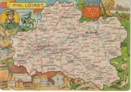 CPSM REPRESENTATION CARTE GEOGRAHIQUE DEPARTEMENT LOIRET - La Pucelle D'Orléans, Coligny, Faience Gien, Vinaigre, Roses. - Carte Geografiche