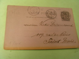 ENTIER POSTAL TYPE SAGE  ..CACHET PARIS R.S CECILE ..8 AVRIL 1890 - Entiers Postaux