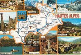 DEPARTEMENT DES HAUTES ALPES - Carte Géographique + Multi-vues : Col Du Noyer, Lautaret, Orcières, Briançon, Embrun, Gap - France