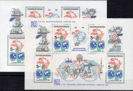 110 Jahre UPU CSSR Block 58 Plus 59 ** 55€ Erde Schiff Rakete Lok Brief-Taube Bf M/s Space Sheet Of Tschechoslowakei CSR - U.P.U.