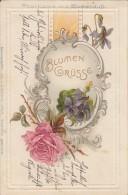 AK Blumengrüße Prägedruck Karte Mit Blumenduft Gelaufen 18.7.01 - Geburtstag