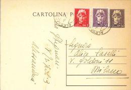 L42) LUOGOTENENZA CARTOLINA POSTALE TURRITA 60 Cent. DEL 1945 VIAGGIATA - Marcofilie