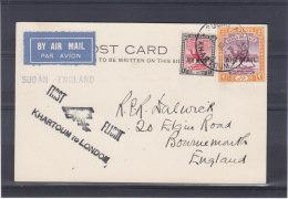 Chameaux - Grande Bretagne - Soudan - Carte Postale De 1931  ?? - 1er Vol Khartoum - Londres - Sudan (...-1951)