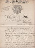DOCUMENT EN ALLEMAND FREI STADT FRANKFURT - DAS POLIZEN-AMT - SUPERBE GRAVURE - 1863 + TEXTE A VOIR - Documents Historiques