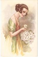 TERZI - ART DECO POSTCARD 1920s - WOMAN & DAISY  - N. 522-4 - Illustrators & Photographers