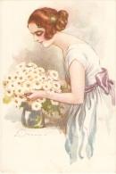 TERZI - ART DECO POSTCARD 1920s - WOMAN & DAISY  - N. 522-3 - Illustrators & Photographers