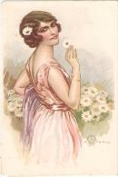 TERZI - ART DECO POSTCARD 1920s - WOMAN & DAISY  - N. 522-2 - Illustrators & Photographers