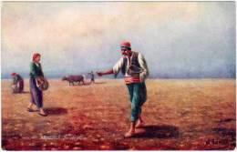 Village Life In Armenia, Sowing Corn (semeur De Maïs), Signée Azarian - Arménie