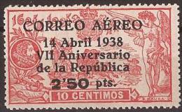 ES756-L1450TA..España .Spain.Epagne.ANIVERSARIO DE LA REPUBLICA.QUIJOTE..1938( Ed 756**),sin Charnela..MAGNIFICO - Aéreo