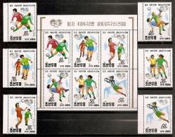 FÚTBOL - COREA DEL NORTE 1991 - Yvert #2250/55+H85A - MNH ** - World Cup