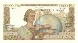 Billet) 10.000fr Génie Francais Du  1 / 7 /1954 - Alph  7458 -- N°  410   - 2  épinglages - Légé Plis - Petite Tache - 10 000 F 1945-1956 ''Génie Français''