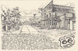 Map : Old Route 66 Series Postcard , 50-70s : Halltown , Missouri - Route '66'