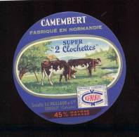 Etiquette De Fromage Camembert  -  Super 2  Clochettes  -  Sté Ed. Paillaud  à Creully  (Calvados) - Formaggio