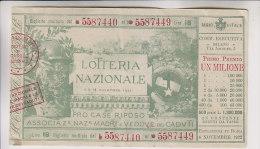 Biglietto Lotteria 1922 Lotteria Nazionale - Pro Case Di Riposo - Biglietti Della Lotteria