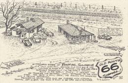 Map : Old Route 66 Series Postcard , 50-70s : Pontiac , Illinois - Route '66'