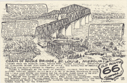 Map : Old Route 66 Series Postcard , 50-70s : Chain Of Rocks Bridge , St Louis , Missouri - Route '66'
