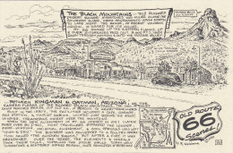 Map : Old Route 66 Series Postcard , 50-70s : Cool Springs Cabins Between Kingman & Oatman  , Arizona - Route '66'