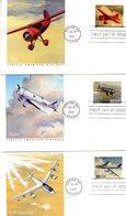 Lot De 6 Enveloppe Premier Jour - US Fleetwood  FDCs - Martin B10-P38 Lightning-Vega-Alpha-Stratojet-Bonanza - Aviones