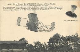 LE COMTE DE LAMBERT PILOTANT UN AEROPLANE SYSTEME WRIGHT - Piloten