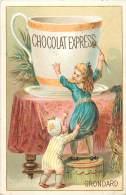Chromos Réf. C917. Chocolat Express Grondard - Tasse Géante, Table Haute, Fillettes - Chocolat