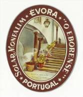 """EVORA ♦ SOLAR MONFALIM """" O EBORENSE """" ♦ PORTUGAL ♦ VINTAGE LUGGAGE LABEL - Hotel Labels"""