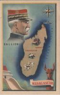 Carte Géographique De Madagascar Et Portrait De Galliéni - Madagascar