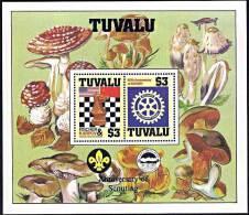TUVALU 1986 Chess, Rotary, Scout, Mushrooms M/S MNH ** Neuf Postfrish - Games