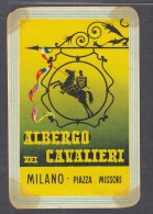 ITALY : ALBERTO CAVALIERI MILAN PIAZZA MISSORI, Hotel Label, C.1954 - Etiquettes D'hotels