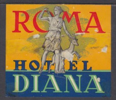 ITALY : HOTEL DIANA ROMA, Hotel Label, C.1954 - Hotel Labels