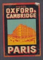 FRANCE : HOTEL OXFORD & CAMBRIDGE PARIS,  Hotel Label, C.1954 - Hotel Labels