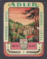 GERMANY SCHONWALD ADLER HOTEL KURHAUS  Hotel Label, C.1954 - Hotel Labels
