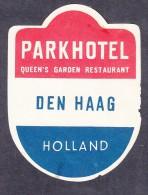 NETHERLANDS / HOLLAND : PARK HOTEL, QUEENS GARDEN RESTAURANT,   Hotel Label, C.1954 - Hotel Labels