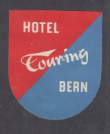 SWITZERLAND : HOTEL TOURING, BERN,   Hotel Label, C.1954 - Etiquettes D'hotels