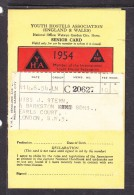 YOUTH HOSTEL ASSOCIATION (ENGLAND & WALES), Membership Card, 1954 - Organizations