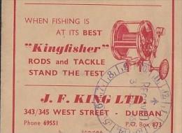"""KINGFISHER""  RODS & TACKLE - J.F. King Ltd, Durban Advert On Photo Wallet, 1958 - Fishing"
