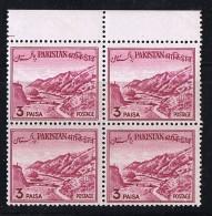 1961  Khyber Pass 3 Paisa  Reengraved Bengali Inscription SG 133a   MNH Block Of 4 - Pakistan
