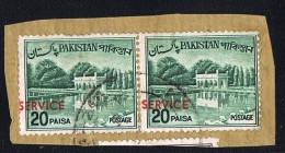 1963  Variety - Error  20 Paisa SERVICE Stamp  Misplaced Overprint SG O99 Pair On Piece - Pakistan