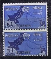 1963  Variety - Error  1 Rupee  SERVICE Stamp  Inverted  Overprint SG O67 MNH Pair - Pakistan