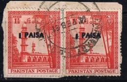 1961  Variety - Error  1 Paisa  On 1½a  Double Overprint SG 122 Pair Used On Piece - Pakistan