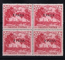 1961  Variety - Error  7 Paisa  On 1a  «PIASA» For «PAISA»    SG 125 MNH  Block Of 4 - Pakistan