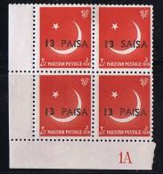 1961  Variety - Error  13 Paisa  On 1a  Rare «SAISA» For «PAISA»    SG 127 MNH  Block Of 4 - Pakistan